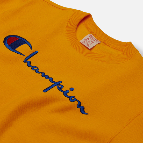 Мужская толстовка Champion Reverse Weave Big Script Crew Neck Orange