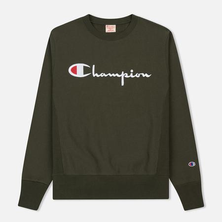 Мужская толстовка Champion Reverse Weave Classic Crew Neck Script Logo Dark Green