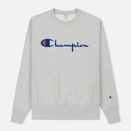 Мужская толстовка Champion Reverse Weave Classic Crew Neck Script Logo Heather Grey