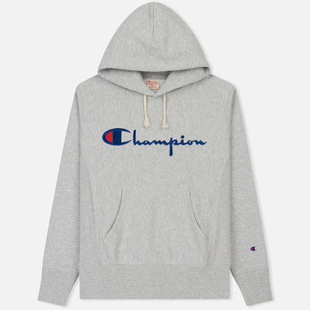 Мужская толстовка Champion Reverse Weave Classic Hooded Script Logo Heather Grey