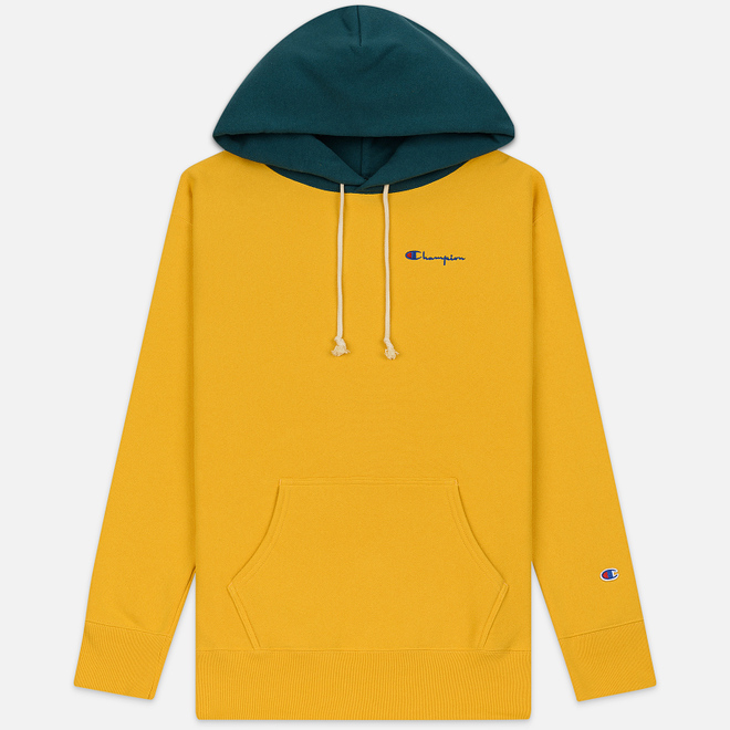 Мужская толстовка Champion Reverse Weave Color Block Hooded Golden Rod/Teal