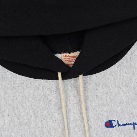 Мужская толстовка Champion Reverse Weave Color Block Hooded Light Grey/Black