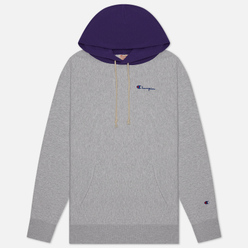 Мужская толстовка Champion Reverse Weave Contrast Hoodie Logo Script Light Grey