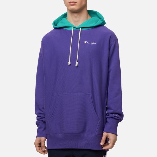 Мужская толстовка Champion Reverse Weave Contrast Hoodie Logo Script Purple