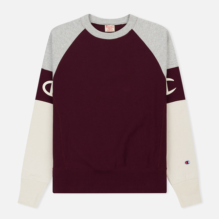 Мужская толстовка Champion Reverse Weave Crew Neck Colour Block Burgundy