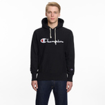 Мужская толстовка Champion Reverse Weave Hooded Big Script Logo Black фото- 5