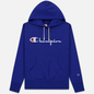 Мужская толстовка Champion Reverse Weave Hooded Big Script Logo Clematis Blue фото - 0