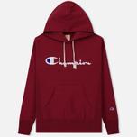 Мужская толстовка Champion Reverse Weave Hooded Big Script Logo Burgundy фото- 0