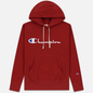 Мужская толстовка Champion Reverse Weave Hooded Big Script Logo Dark Red фото - 0