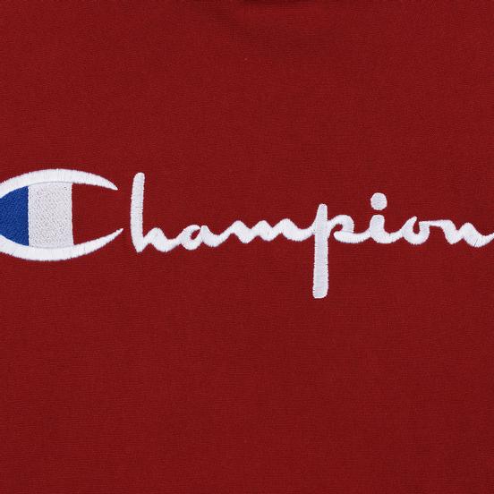 Мужская толстовка Champion Reverse Weave Hooded Big Script Logo Dark Red