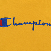Мужская толстовка Champion Reverse Weave Hooded Big Script Logo Golden Rod фото- 2