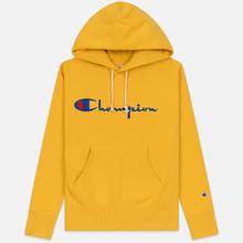 Мужская толстовка Champion Reverse Weave Hooded Big Script Logo Golden Rod фото- 0