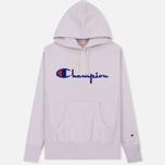 Мужская толстовка Champion Reverse Weave Hooded Big Script Logo Lavender фото- 0