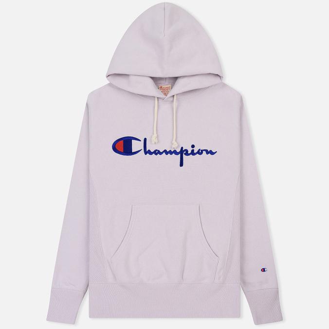 Мужская толстовка Champion Reverse Weave Hooded Big Script Logo Lavender