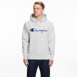 Мужская толстовка Champion Reverse Weave Hooded Big Script Logo Light Grey фото- 5