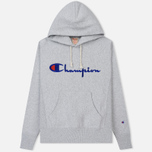 Мужская толстовка Champion Reverse Weave Hooded Big Script Logo Light Grey фото- 0