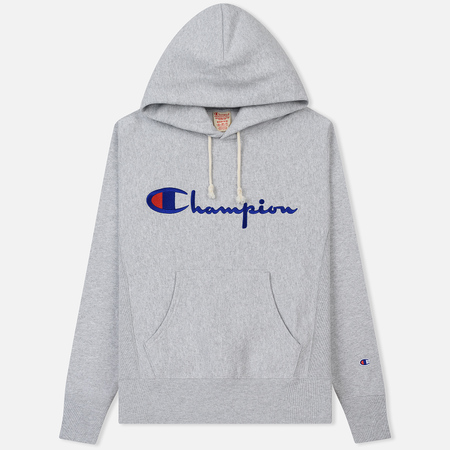Мужская толстовка Champion Reverse Weave Hooded Big Script Logo Light Grey