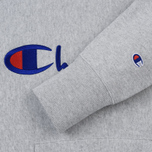 Мужская толстовка Champion Reverse Weave Hooded Big Script Logo Light Grey фото- 3