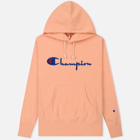 Мужская толстовка Champion Reverse Weave Hooded Big Script Logo Peach