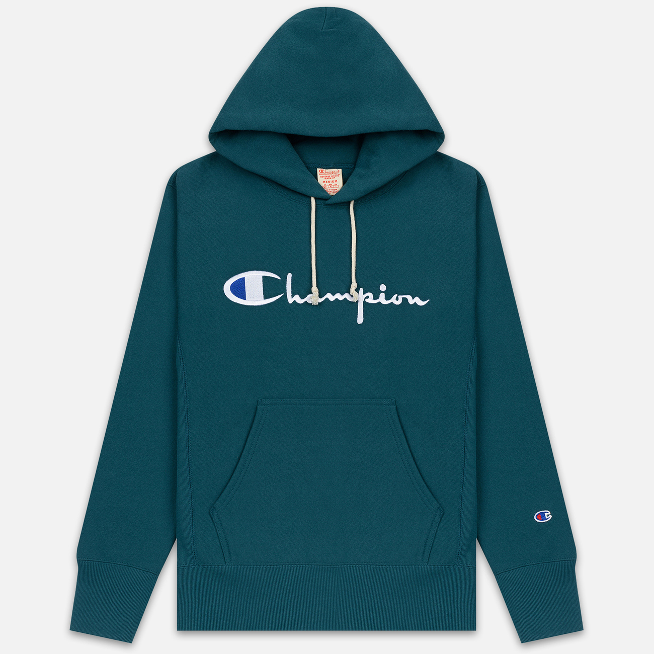 Мужская толстовка Champion Reverse Weave Hooded Big Script Logo Teal