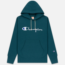 Мужская толстовка Champion Reverse Weave Hooded Big Script Logo Teal фото- 0
