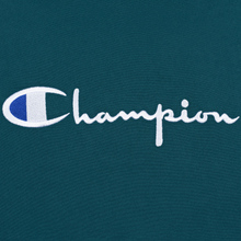 Мужская толстовка Champion Reverse Weave Hooded Big Script Logo Teal фото- 2