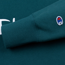 Мужская толстовка Champion Reverse Weave Hooded Big Script Logo Teal фото- 3