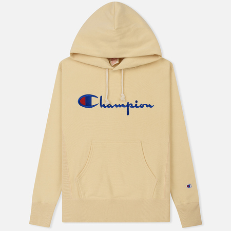 Мужская толстовка Champion Reverse Weave Hooded Big Script Logo Wheat