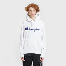 Мужская толстовка Champion Reverse Weave Hooded Big Script Logo White фото- 1