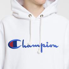 Мужская толстовка Champion Reverse Weave Hooded Big Script Logo White фото- 2
