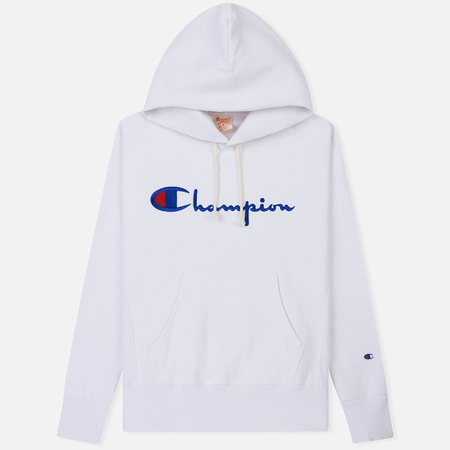 Мужская толстовка Champion Reverse Weave Hooded Big Script Logo White