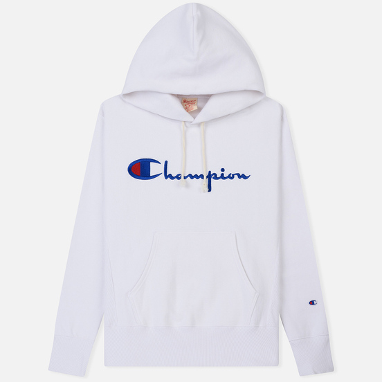 Мужская толстовка Champion Reverse Weave Hooded Big Script Logo White