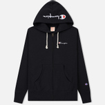 Мужская толстовка Champion Reverse Weave Hooded Full Zip Small Script Logo Black фото- 0