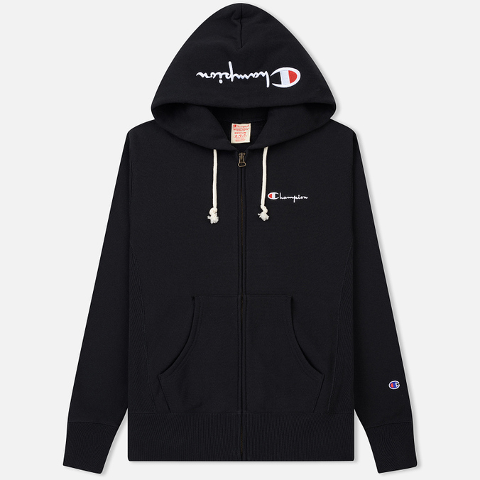 Мужская толстовка Champion Reverse Weave Hooded Full Zip Small Script Logo Black