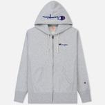 Мужская толстовка Champion Reverse Weave Hooded Full Zip Small Script Logo Light Grey фото- 0