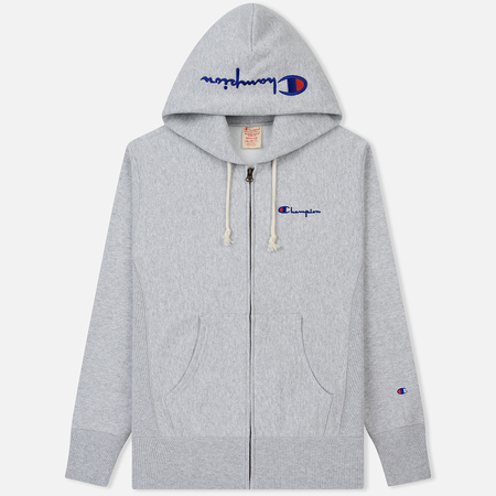 Мужская толстовка Champion Reverse Weave Hooded Full Zip Small Script Logo Light Grey
