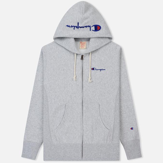 Мужская толстовка Champion Reverse Weave Hooded Full Zip Small Script Logo Light Grey