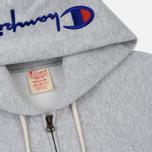 Мужская толстовка Champion Reverse Weave Hooded Full Zip Small Script Logo Light Grey фото- 1