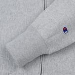 Мужская толстовка Champion Reverse Weave Hooded Full Zip Small Script Logo Light Grey фото- 3