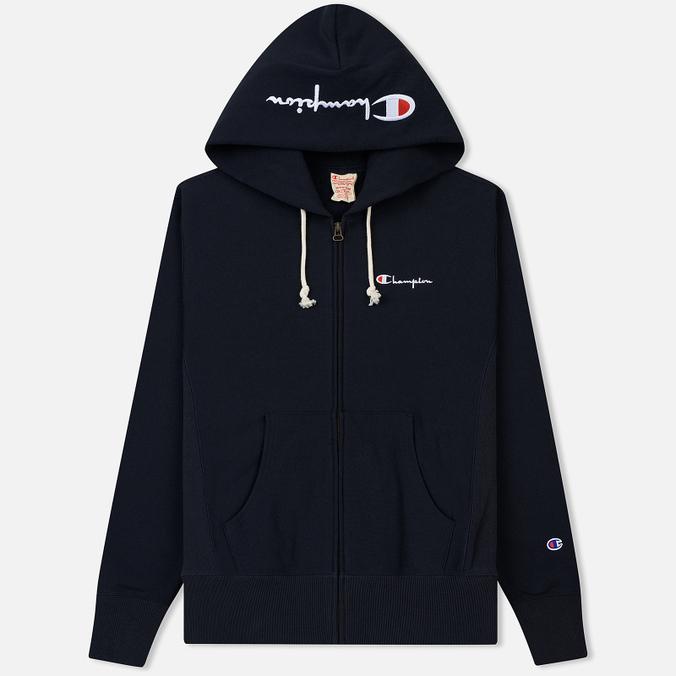 Мужская толстовка Champion Reverse Weave Hooded Full Zip Small Script Logo Navy