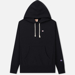 Мужская толстовка Champion Reverse Weave Hooded Logo Patch To The Chest And Sleeve Black фото- 0