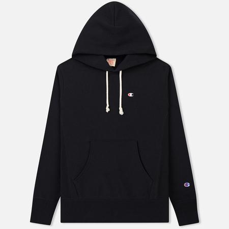 Мужская толстовка Champion Reverse Weave Hooded Logo Patch To The Chest And Sleeve Black