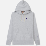 Мужская толстовка Champion Reverse Weave Hooded Logo Patch To The Chest And Sleeve Light Grey фото- 0