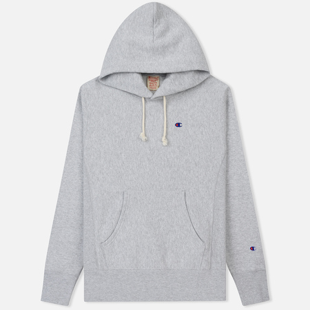 Мужская толстовка Champion Reverse Weave Hooded Logo Patch To The Chest And Sleeve Light Grey