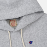 Мужская толстовка Champion Reverse Weave Hooded Logo Patch To The Chest And Sleeve Light Grey фото- 1