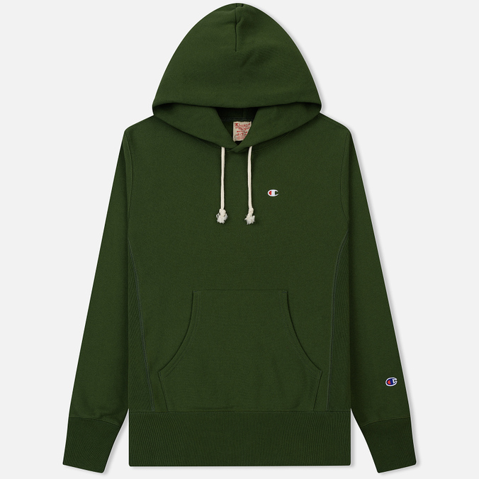 Мужская толстовка Champion Reverse Weave Hooded Logo Patch To The Chest And Sleeve Military Green