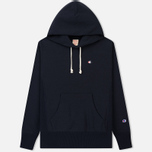 Мужская толстовка Champion Reverse Weave Hooded Logo Patch To The Chest And Sleeve Navy фото- 0