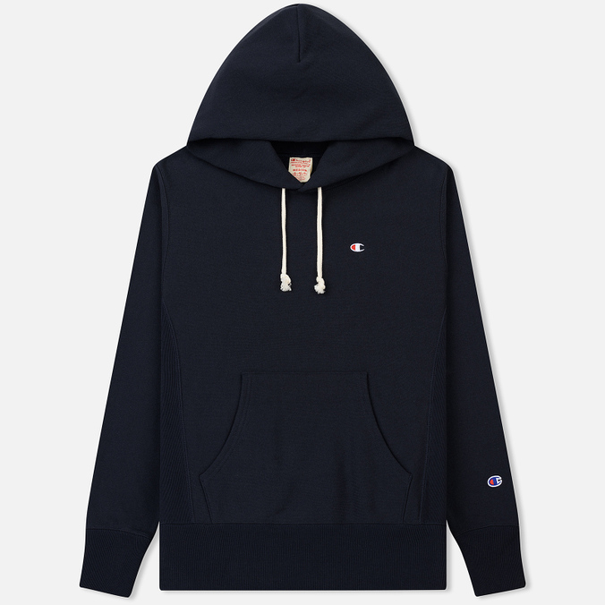 Мужская толстовка Champion Reverse Weave Hooded Logo Patch To The Chest And Sleeve Navy