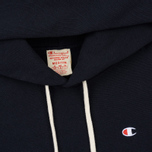 Мужская толстовка Champion Reverse Weave Hooded Logo Patch To The Chest And Sleeve Navy фото- 1