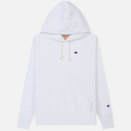Мужская толстовка Champion Reverse Weave Hooded Logo Patch To The Chest And Sleeve White